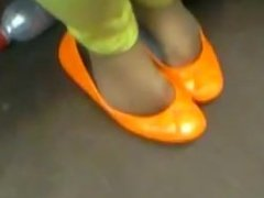 orange flats and nylons