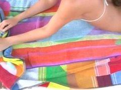 Jen Hilton Suntan Oil Topless