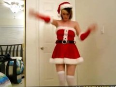Hot EX GF with big tits strips for xmas video