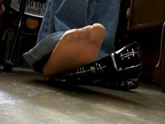teen black flats and nylons shoeplay