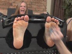 Tickling oiled feet