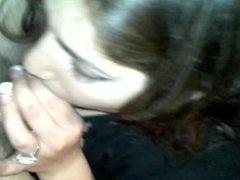 My gf sucks me up proper, choking, ball licking