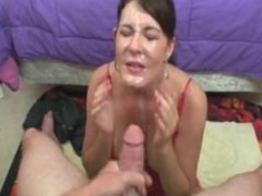 Brunette In Red Cum Blasted