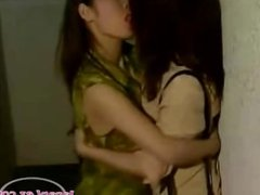 2 Asian Girls Kissing Passionately Sucking Nipples On The Corridor And Lick