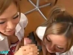2 Hot Waitresses Jerking Off Guy Cock Cum To Floor In The Cafe