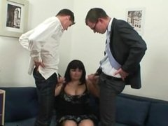 Two dudes bang huge titted mature