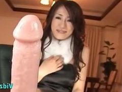 Asian Girl With Hairy Pussy Sucking And Riding On Dildo On The Desk In The