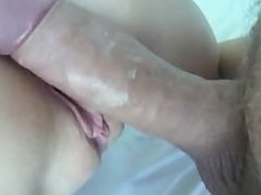 Perfect young pussy gets a creampie and orgasm!
