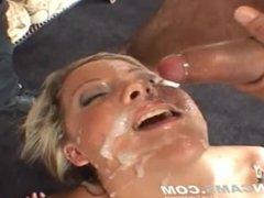 Slut Has Bukkake Blowbang With 12 Men Giving Massive Glazed Facial.