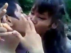 nepali teens enjoying at river bank