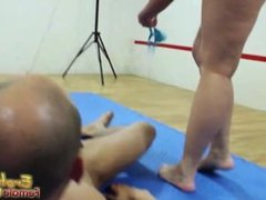 Brunette on mat controls her submissive man