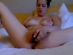 Brunette With Big Beautiful Boobs Dildoing