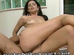 Sexy Latin babe gets analized cumshot