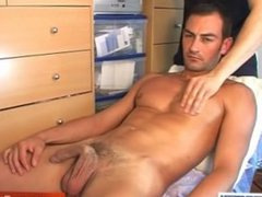 A sexy stew gets wanked his big dick by us !