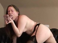 Vicky Peach has a smoke then some fun with a dildo