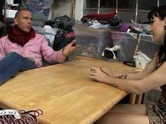 hot young tattooed teen brunette on interview Burning Angel HD trailer