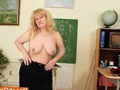 Well-endowed Wifey teacher fucks herself plus a adult toy