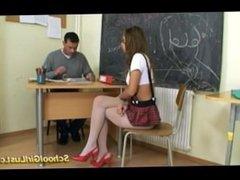 Nasty schoolgirl fucks her teacher