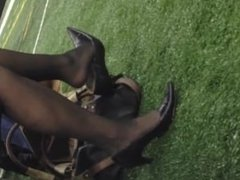 Candid Mature Dangling In Nylons Shoeplay Feet Pt 1