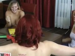 Four hot girls play a game, loser strips and more.
