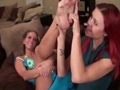 Girl licks girls feet