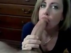 Hot amateur MILF giving a sexy blowjob