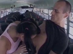 Naughty oriental college babe gives blowjob on the college bus
