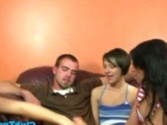 Group of handjob loving teens jerk one guy