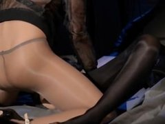 Blindfolded babe gets bang by strap on