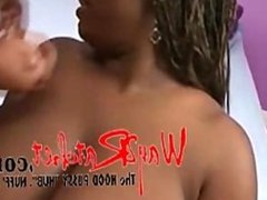 Ebony gives blowjob and tittyfuck to loser
