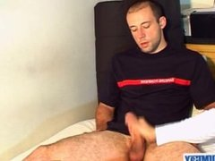 A real str8 french firefighter gets wanked his big dick by a guy !