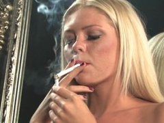 Jessika topless in stockings chain smoking all white 100s
