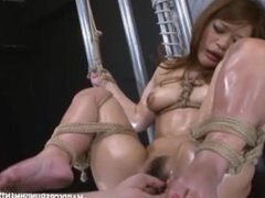 Lubed up Japanese women is fucked by vabrating rampent rabbit
