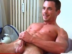 My sport trainer gets wanked his cock by me for a porn video.