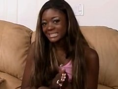 Jenna Brooks cute black slim blowjob gangbang and swallows a lot of cum