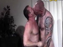 Hunk Tattooed Daddy Cock Feeding Frenzy