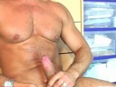 Football soccer player gets wanked his huge cock by us!