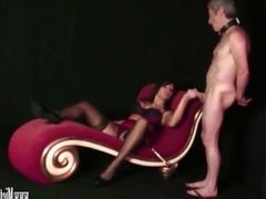 Busty Mistress fucks her sexdoll then he eats cum out her wet pussy