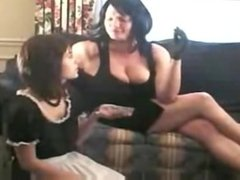 Mistress blowing Smoke in Maid.