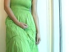 Masturbation Instruction in Green Dress
