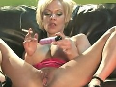 Hot smoking blond