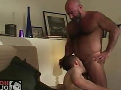 Bald mature hairy bear has fun with horny cub