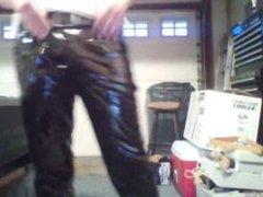 me in my new vinyl pants