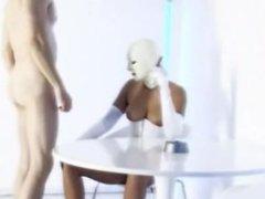 Hot White Latex Mask Wearing Lady Giving A Kinky Cigar Smoking Blowjob
