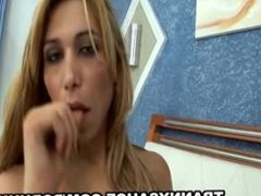 Blonde shemale Carla Tavares strips and jerks off