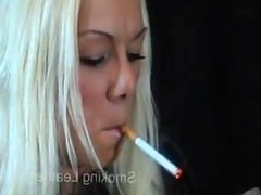smoking girls in leather pants