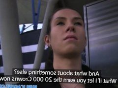 PublicAgent Ponytailed brunette sucks and fucks at a train station