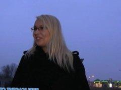 PublicAgent Surprised blonde in glasses fucking a stranger outside