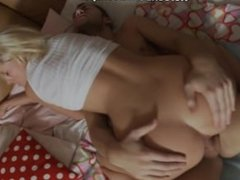 Cute blonde doll gets pussy on cock and mouth in sperm