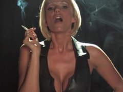 Lucy Zara smoking fetish in leather